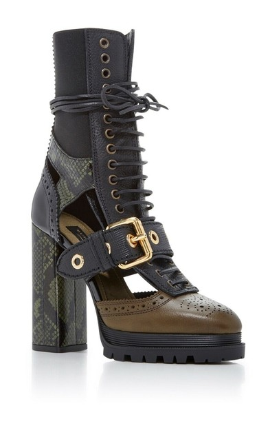 Item - Military Olive Westmarsh Leather Snakeskin Cutout Ankle Boots/Booties Size EU 38 (Approx. US 8) Regular (M, B)