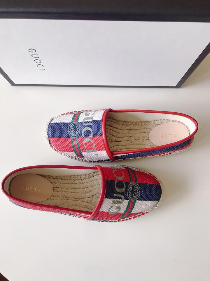 424eb6e9c Gucci Red White Green Blue Leather-trimmed Striped Logo-print Canvas  Espadrilles Flats Size EU 37.5 (Approx. US 7.5) Regular (M, B) - Tradesy