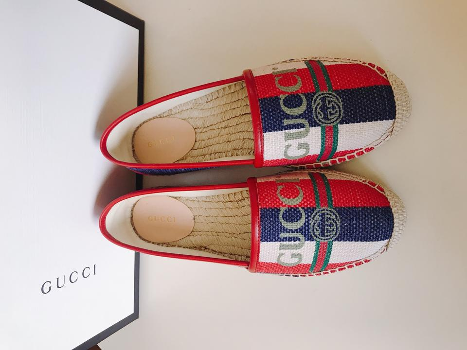 28b134fd5 Gucci Red White Green Blue Leather-trimmed Striped Logo-print Canvas  Espadrilles Flats Size EU 38 (Approx. US 8) Regular (M, B) - Tradesy