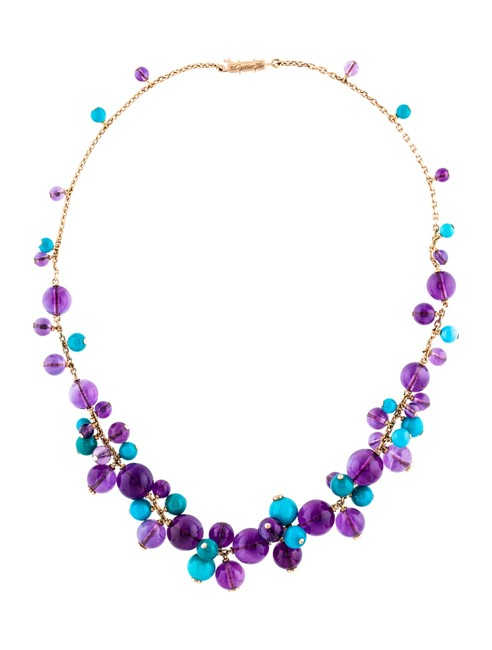 Item - 18k Yellow Gold Délices De Goa Featuring Turquoise Amethyst Beads Necklace