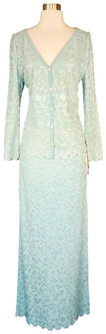 Item - Sage - (Aqua) Evening with Paillettes 8 Skirt Suit Size 6 (S)