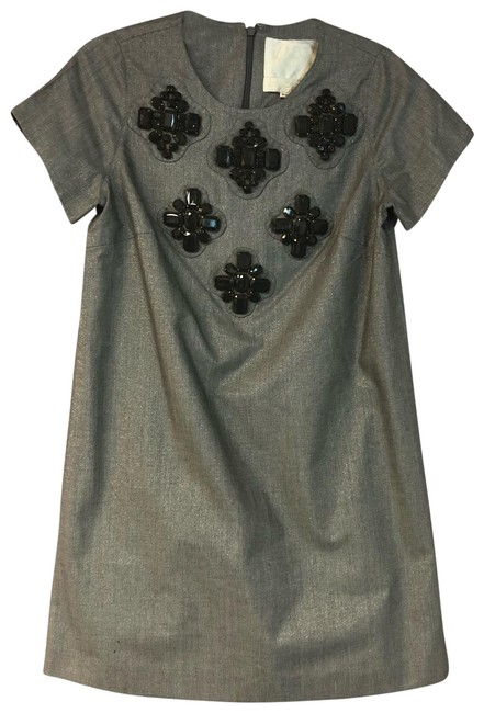 Item - Silver Gray Embellished Poly Shift Short Casual Dress Size 8 (M)