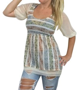 Only Hearts Floral Striped Lace Boho Bohemian Top Cream/Multicolor