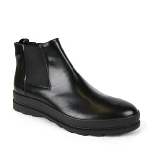 Prada Black Men's Leather Ankle Boot with Elastic Sides Uk 6/Us 7 2tg094 Shoes