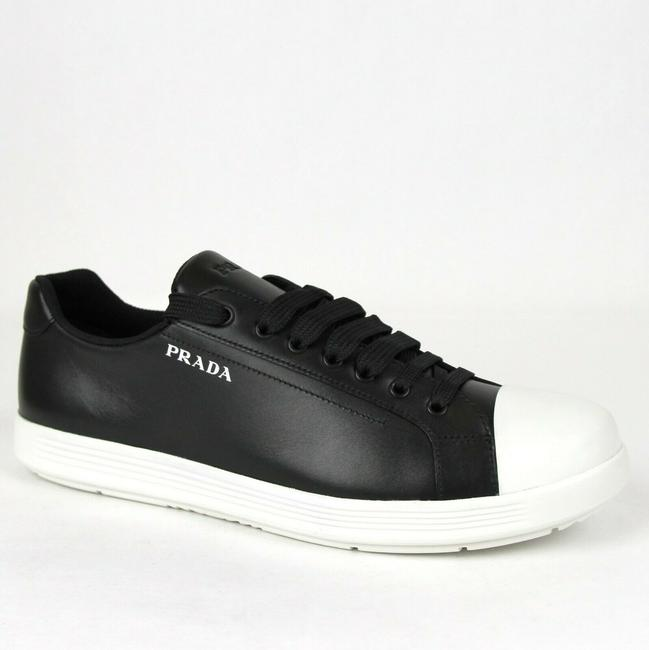 Prada Black/White Sneaker with Rubber Sole and Printed Logo Uk 7/Us 8 4e3339 Shoes Prada Black/White Sneaker with Rubber Sole and Printed Logo Uk 7/Us 8 4e3339 Shoes Image 1