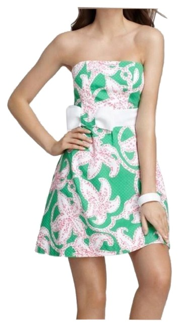 Item - Green Strapless Amberly Pink Twinkle Floral Mini Short Cocktail Dress Size 2 (XS)