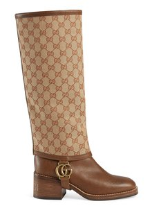 Gucci Stiletto Leather Ankle Mesh beige Boots