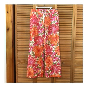 04c0e6c32d9f66 Lilly Pulitzer Palazzo Wide Leg Summer Drawstring Floral Relaxed Pants  Orange