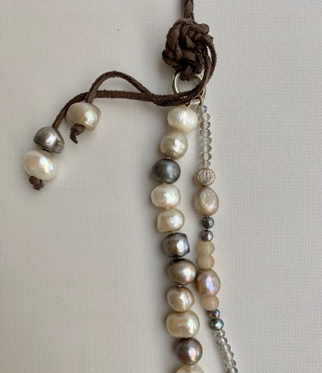 Couture Studio WHITE CREAM 12 MM FAUX PEARL NECKLACE IN BLACK TULE, INDIV KNOTTED 40