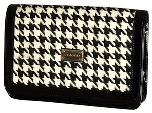 St. John Patent Leather Black and White Clutch