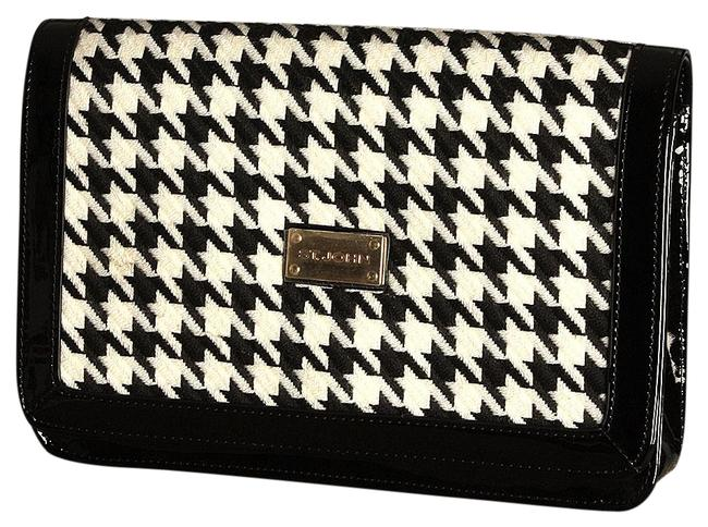 Item - Houndstooth & Black and White Patent Leather Clutch
