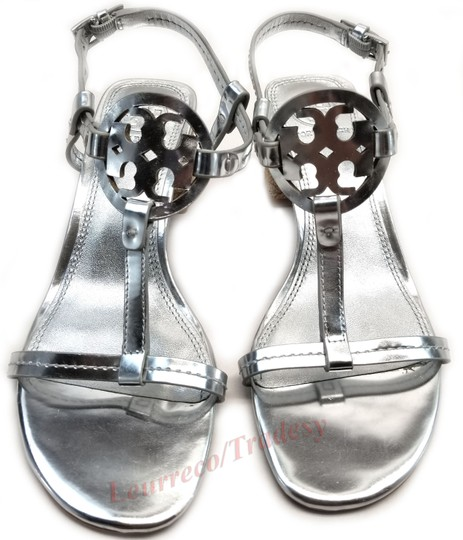Tory Burch Bold Logo Cutout Leather Espadrille Heel Silver Metallic Sandals Image 1