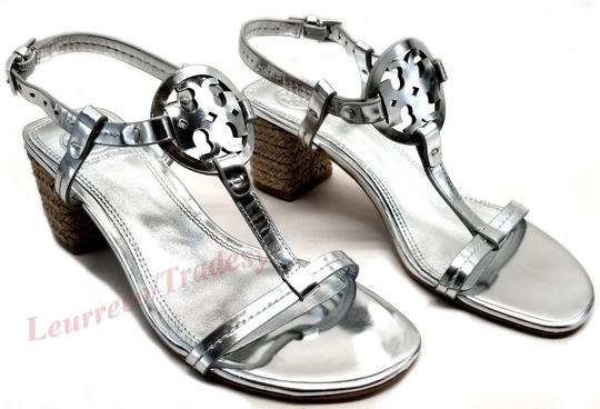 Tory Burch Bold Logo Cutout Leather Espadrille Heel Silver Metallic Sandals Image 2