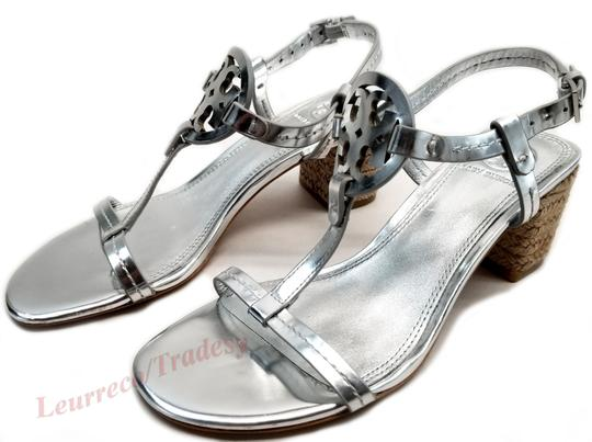 Tory Burch Bold Logo Cutout Leather Espadrille Heel Silver Metallic Sandals Image 3