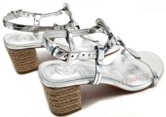 Tory Burch Bold Logo Cutout Leather Espadrille Heel Silver Metallic Sandals Image 4