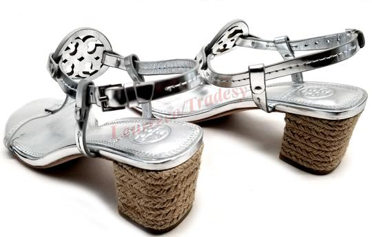 Tory Burch Bold Logo Cutout Leather Espadrille Heel Silver Metallic Sandals Image 5