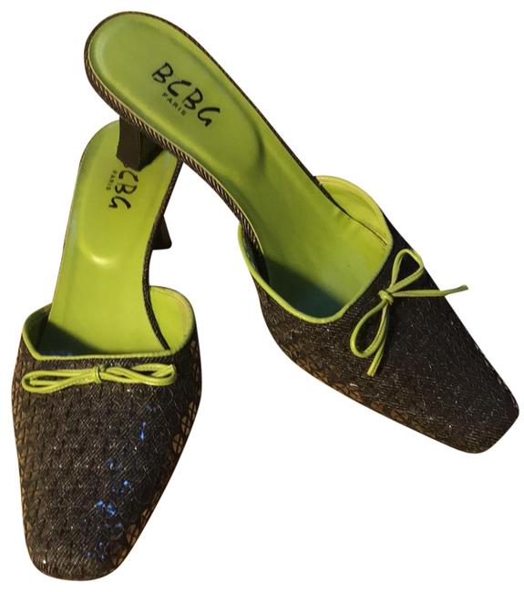 Item - Black Denim with Lime Green Fine Sandals Size EU 39 (Approx. US 9) Regular (M, B)
