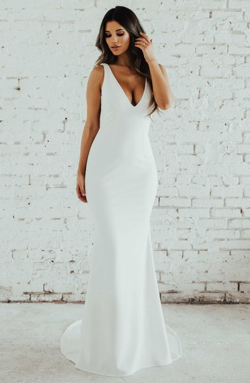 Katie May Ivory Jean and Noel Paloma Plunge Back Crepe Trumpet Gown Modern Wedding Dress Size 6 (S) Image 1