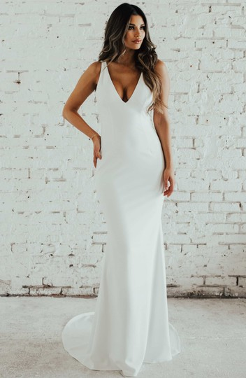 Katie May Ivory Jean and Noel Paloma Plunge Back Crepe Trumpet Gown Modern Wedding Dress Size 6 (S) Image 2