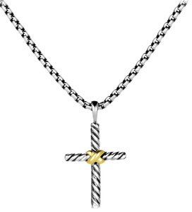 David Yurman Sterling silver 14K yellow gold David Yurman cross necklace