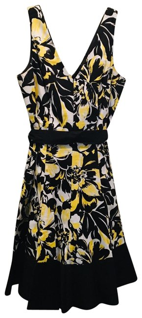 Preload https://img-static.tradesy.com/item/25611118/nine-west-black-yellow-and-white-pattern-mid-length-short-casual-dress-size-10-m-0-1-650-650.jpg