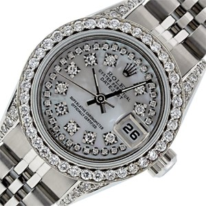 Rolex Ladies Datejust Stainless Steel with Diamond Dial Watch