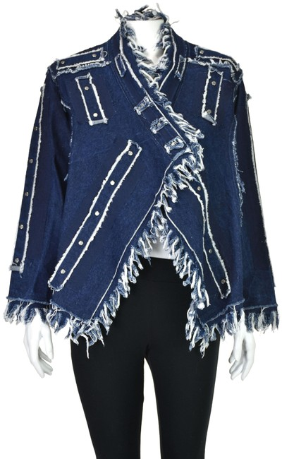 Item - Blue Denim Shredded Fringe with Silver Stud Accents Jacket Size 8 (M)