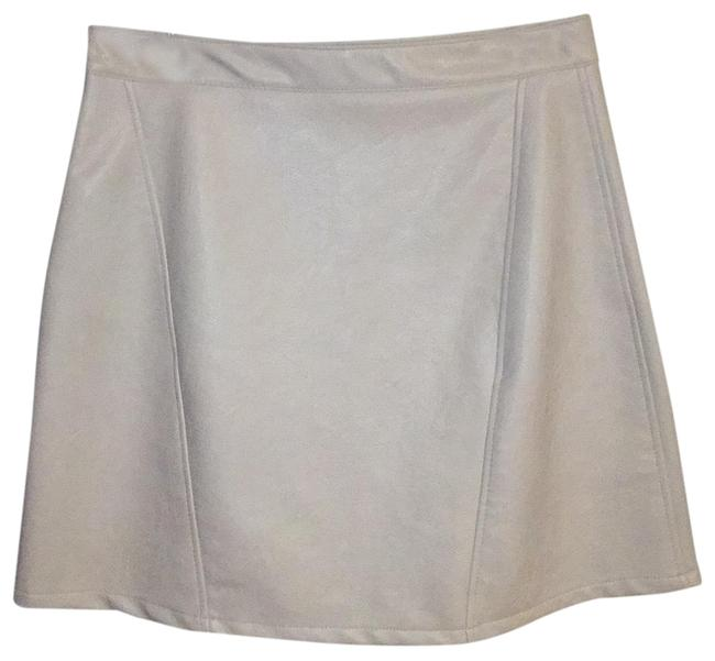 Item - Cream Faux Leather A-line with Zipper Detail Skirt Size 8 (M, 29, 30)