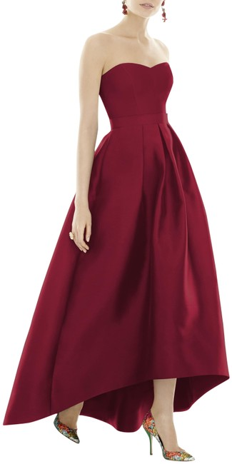 Alfred Sung Burgundy Strapless High Low