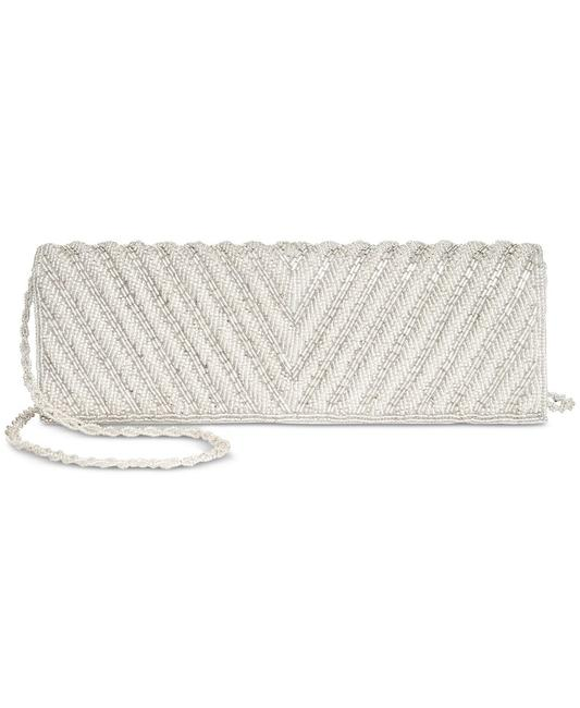 Item - Noreen Chevron Small Flap Silver Beaded Clutch
