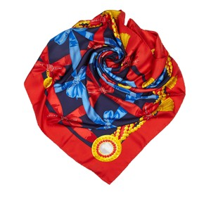 Céline Celine Red with Multi Silk Fabric Printed Scarf Italy SMALL
