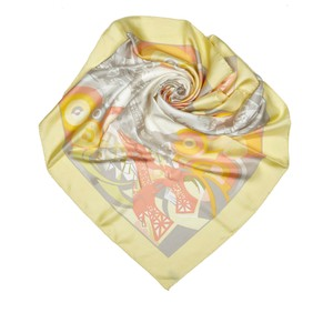 Céline Celine Yellow with Multi Silk Fabric Printed Scarf France SMALL