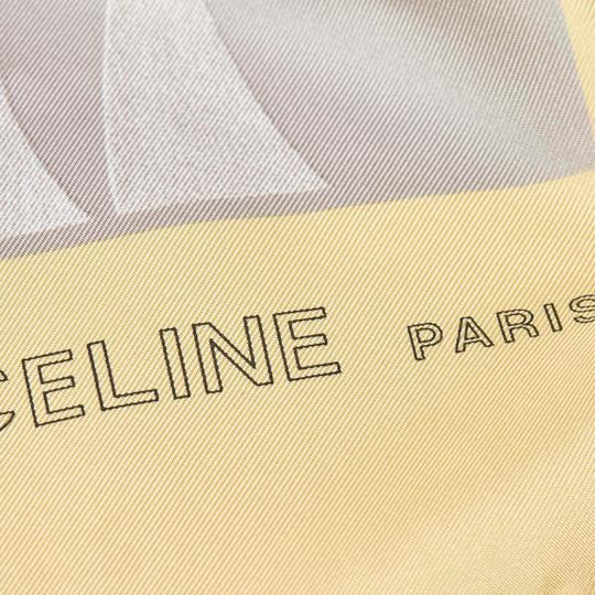 Céline Celine Yellow with Multi Silk Fabric Printed Scarf France SMALL Image 1