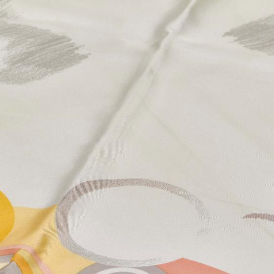 Céline Celine Yellow with Multi Silk Fabric Printed Scarf France SMALL Image 2