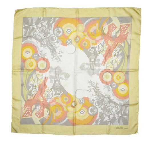 Céline Celine Yellow with Multi Silk Fabric Printed Scarf France SMALL Image 4