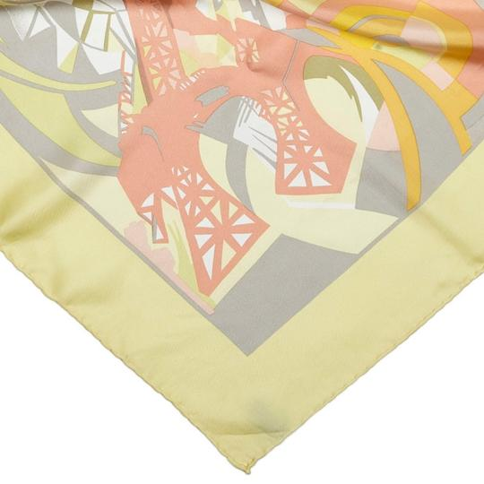 Céline Celine Yellow with Multi Silk Fabric Printed Scarf France SMALL Image 5