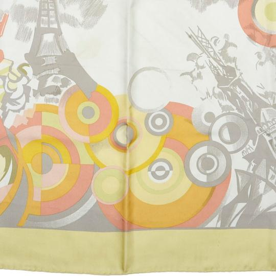 Céline Celine Yellow with Multi Silk Fabric Printed Scarf France SMALL Image 9