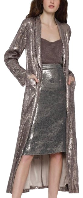 Item - Silver /Gray Angela Long Sequin Jack Coat Size 2 (XS)