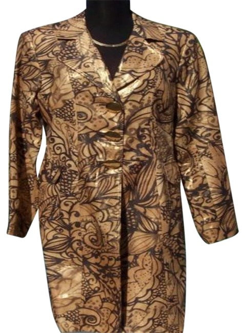 Item - Gold Brown Multi Linen Metallic Coat Top Lined New S 4/6 Metal Button Jacket Size 4 (S)
