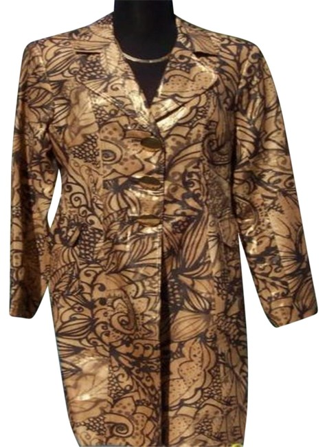Item - Gold Brown Multi Linen Metallic Coat Top Lined New M 8/10 Metal Button Jacket Size 8 (M)