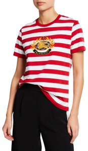 Burberry Logo Striped Casual T Shirt Red/White