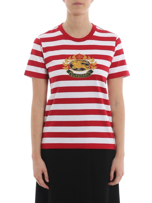Burberry Logo Striped Casual T Shirt Red/White Image 10