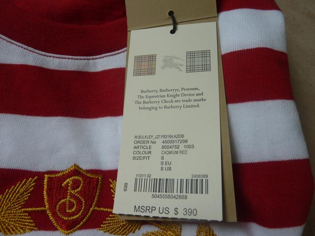 Burberry Logo Striped Casual T Shirt Red/White Image 3