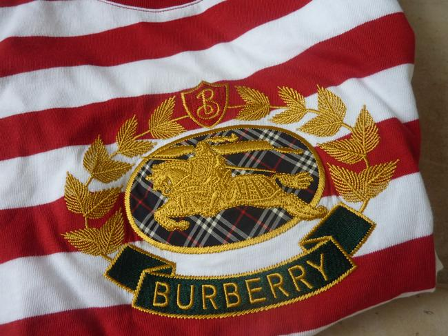 Burberry Logo Striped Casual T Shirt Red/White Image 4