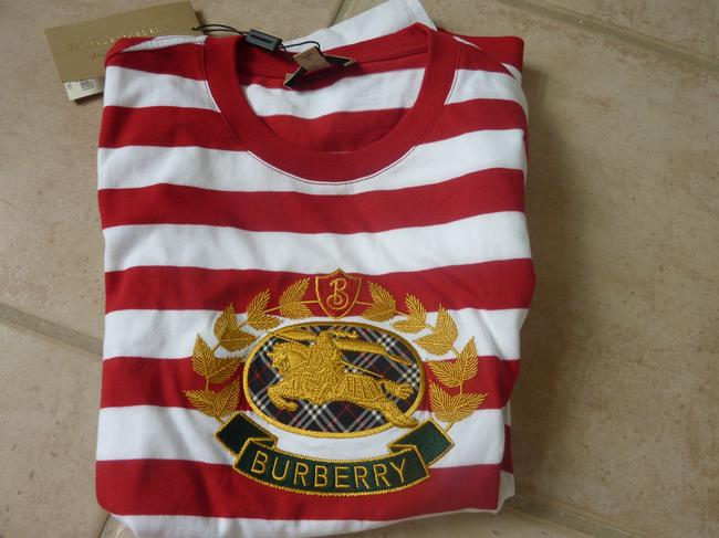 Burberry Logo Striped Casual T Shirt Red/White Image 6