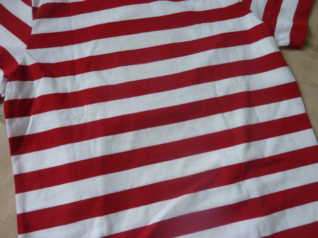 Burberry Logo Striped Casual T Shirt Red/White Image 7