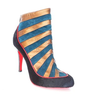 Christian Louboutin Amor Pony Hair Ankle 5.5 Black, Red, Green Boots