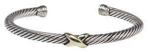 David Yurman Sterling silver 18K gold David Yurman Crossover Station cable cuff
