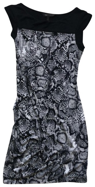 Item - Black White Grey Snakeskin Short Casual Dress Size 4 (S)
