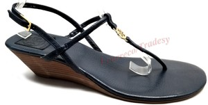 Tory Burch Wedge Thong Navy Sandals